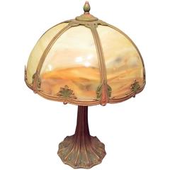 Slag Glass Table Lamp, Carmel Colored Glass with a Decorated Shade and Base