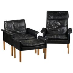 Hans Olsen Scandinavian Leather and Oak Lounge Chairs and Ottoman