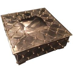 Square Silver Plate Box with Brass Beads after William Spratling