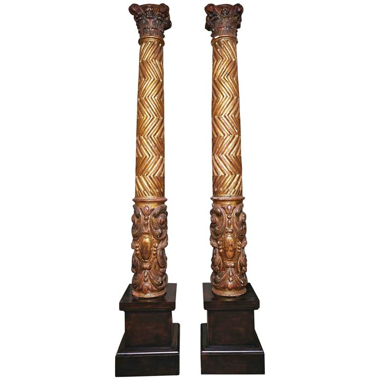 Pair of 17th Century Spanish Carved Gilt and Polychrome Wood Columns