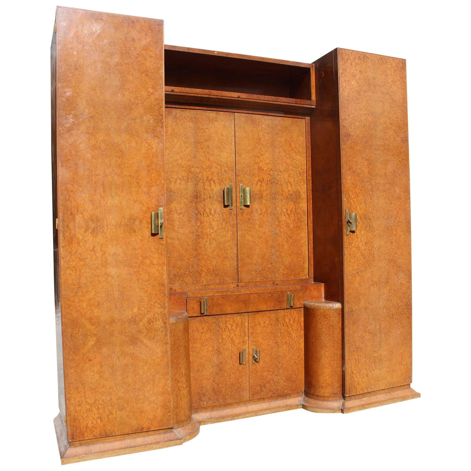 massive french art deco designer burl amboyna armoire with vanity circa 1940s for sale at 1stdibs. Black Bedroom Furniture Sets. Home Design Ideas