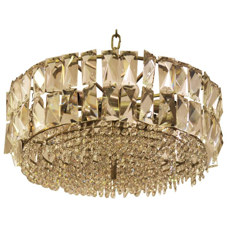 Large Impressive Cut Crystal Chandelier by Bakalowits For Sale