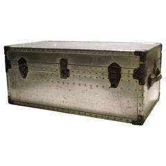 1940s Industrial Aluminum Riveted Trunk