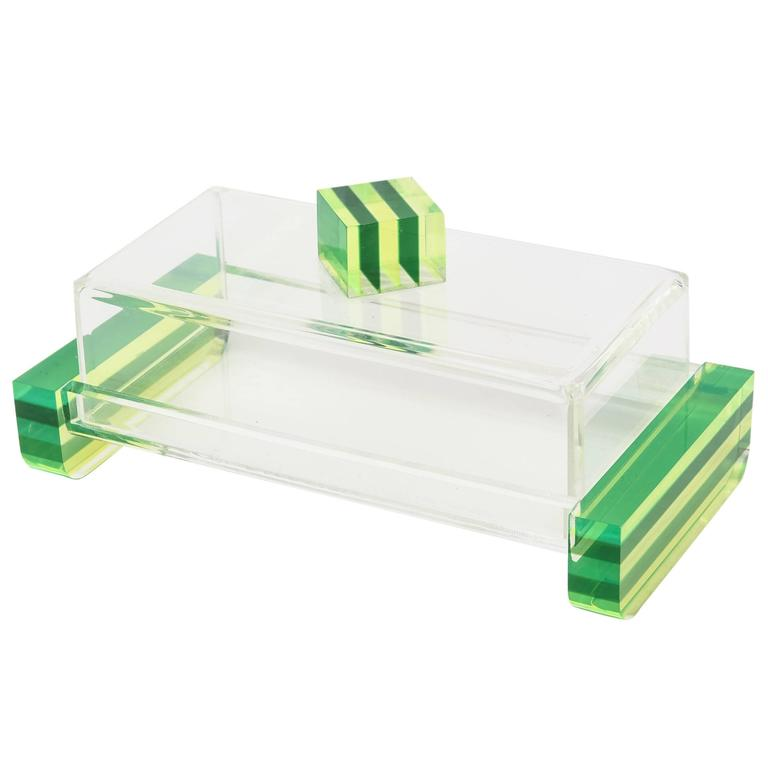 Charles Hollis Jones Style Colored Lucite Two-Part Box For Sale