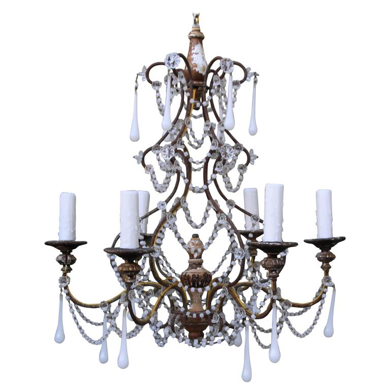 Six light white opaline chandelier circa 1900 for sale at 1stdibs - Circa lighting chandeliers ...
