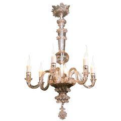 Vintage Clear Glass Murano Chandelier