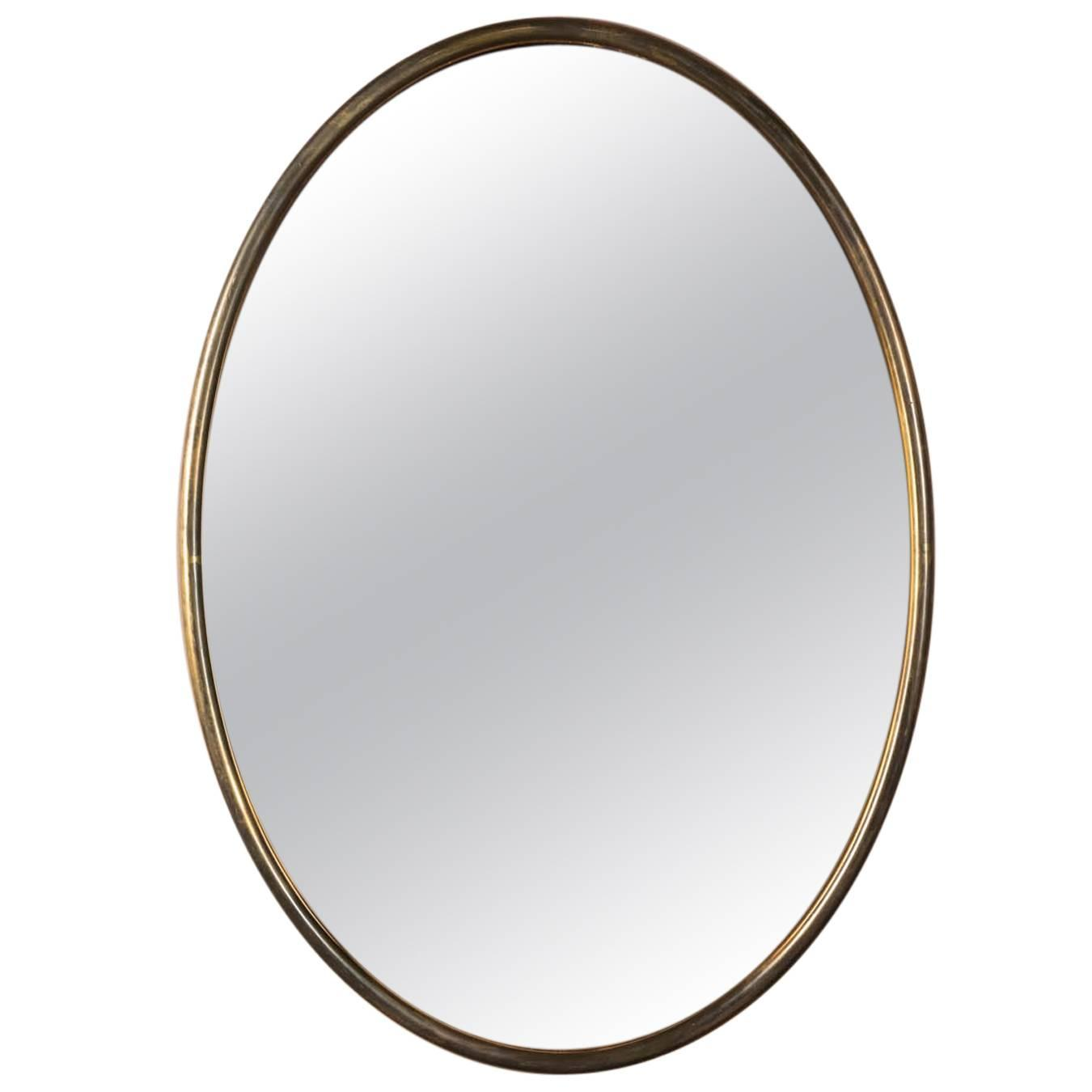 Italian oval brass mirror with copper tinted glass at 1stdibs for Miroir ou mirroir