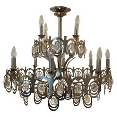 Sciolari Style Large Brushed Nickel and Crystals Chandelier