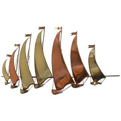 Large C. Jere Style Sail Boat Brass and Copper Wall Sculpture