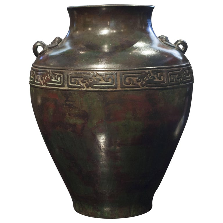 Chinese Archaic Patinated Bronze Vase, Early 20th Century For Sale