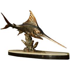 Art Deco Marlin Sculpture by Rochard