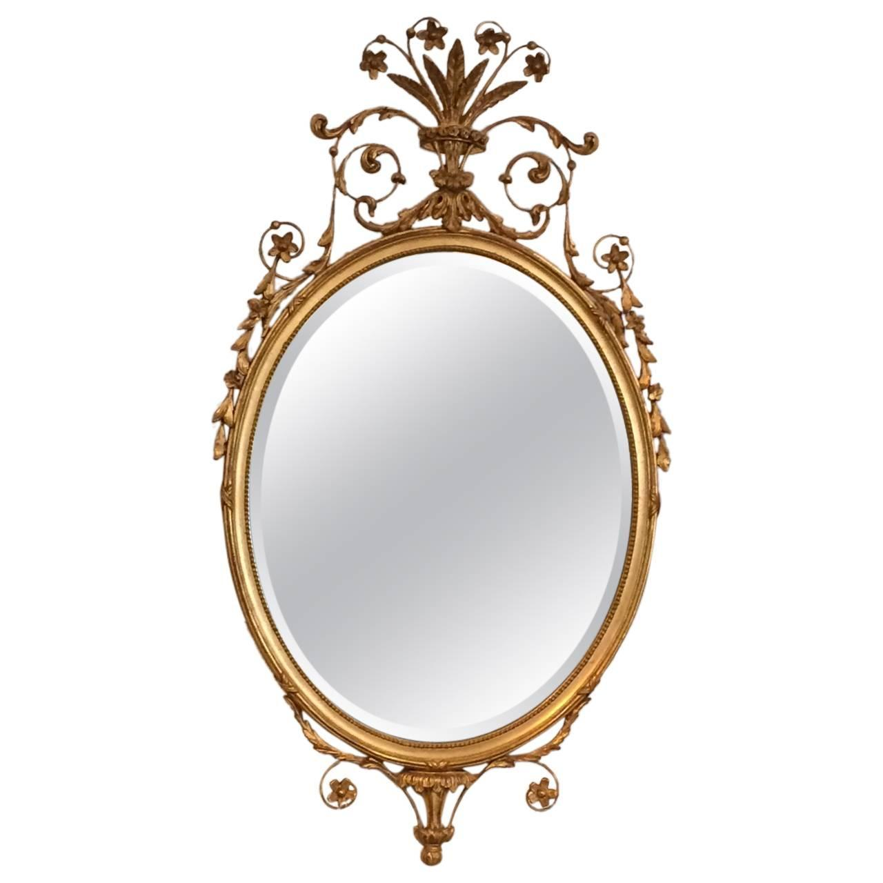 Fancy french louis xvi style oval gilded mirror at 1stdibs for Fancy mirror