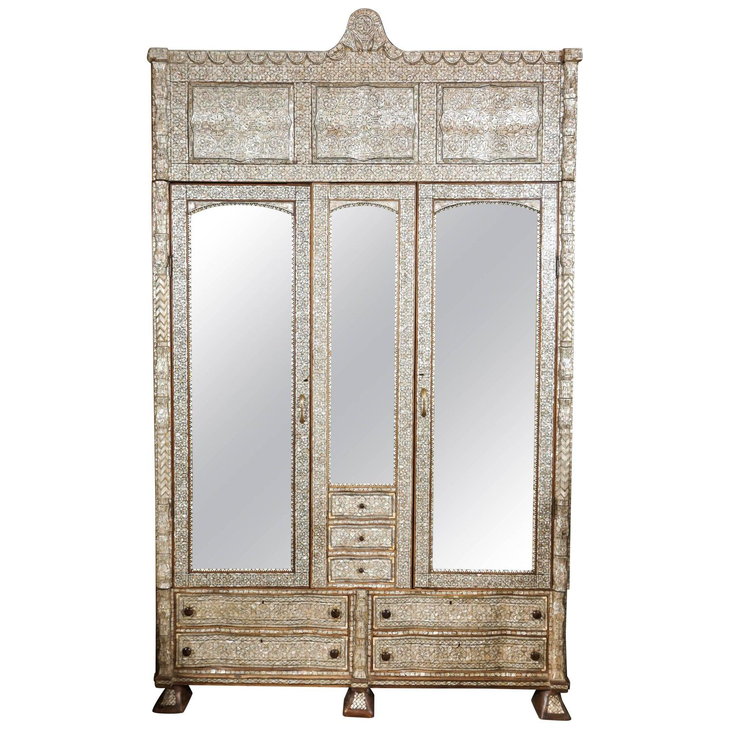 Antique Middle Eastern Syrian Mother Of Pearl Inlay Armoire At 1stdibs