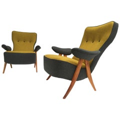 Stunning pair of 1950's Theo Ruth Model 105 'Hair Pin' Easy Chairs for Artifort