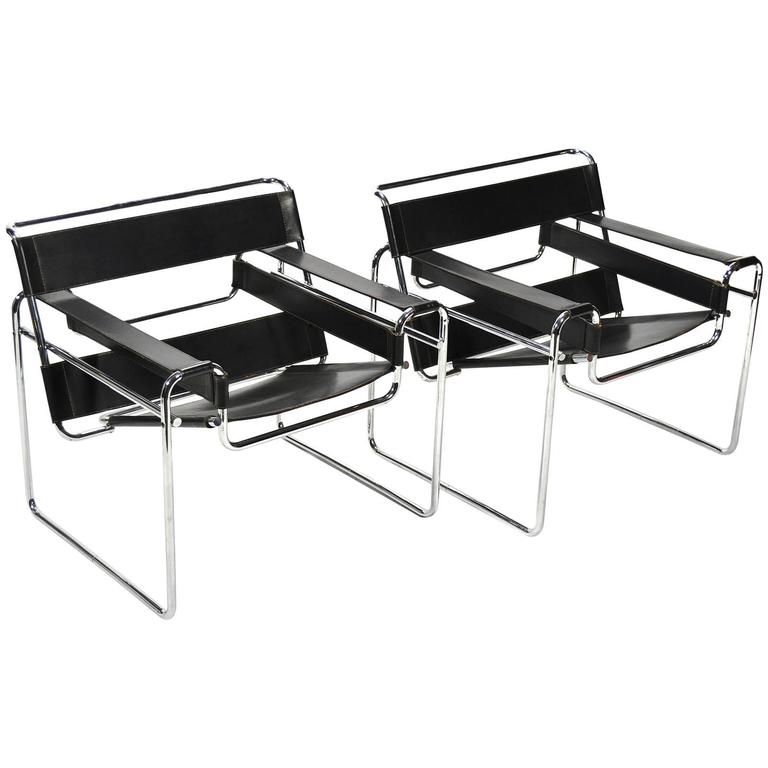 Marcel Breuer Pair Of Early Wassily Chairs By Knoll For Sale