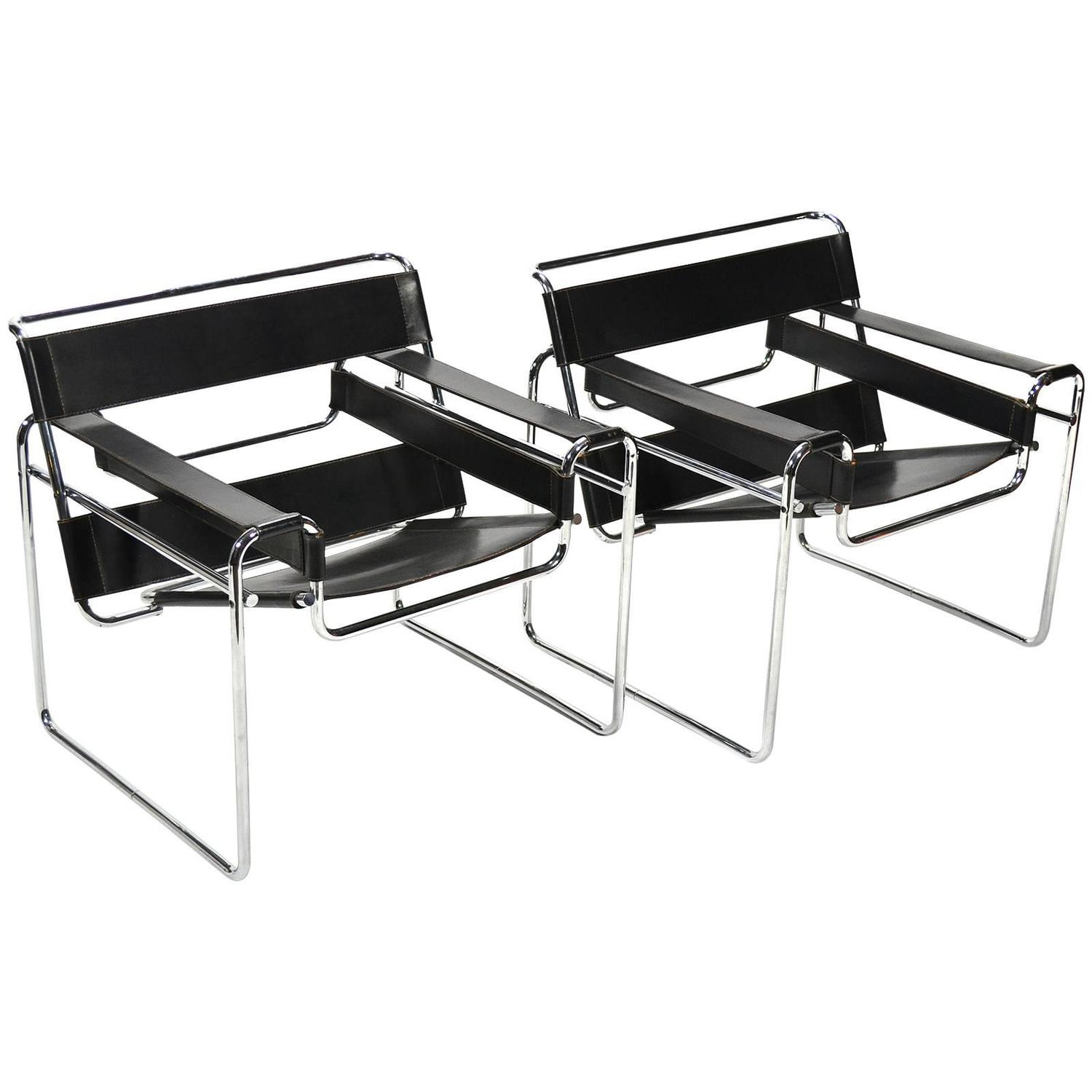 marcel breuer pair of early wassily chairs by knoll for. Black Bedroom Furniture Sets. Home Design Ideas