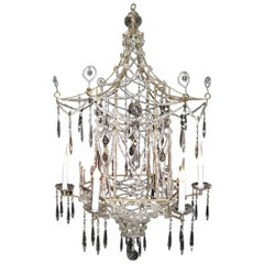 Rare Italian Chinoiserie Style Pagoda Form Bronze, Crystal and Beaded Chandelier