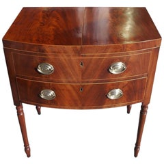 English Mahogany Bow Front Inlaid Ladies Dressing Table.  Circa 1790