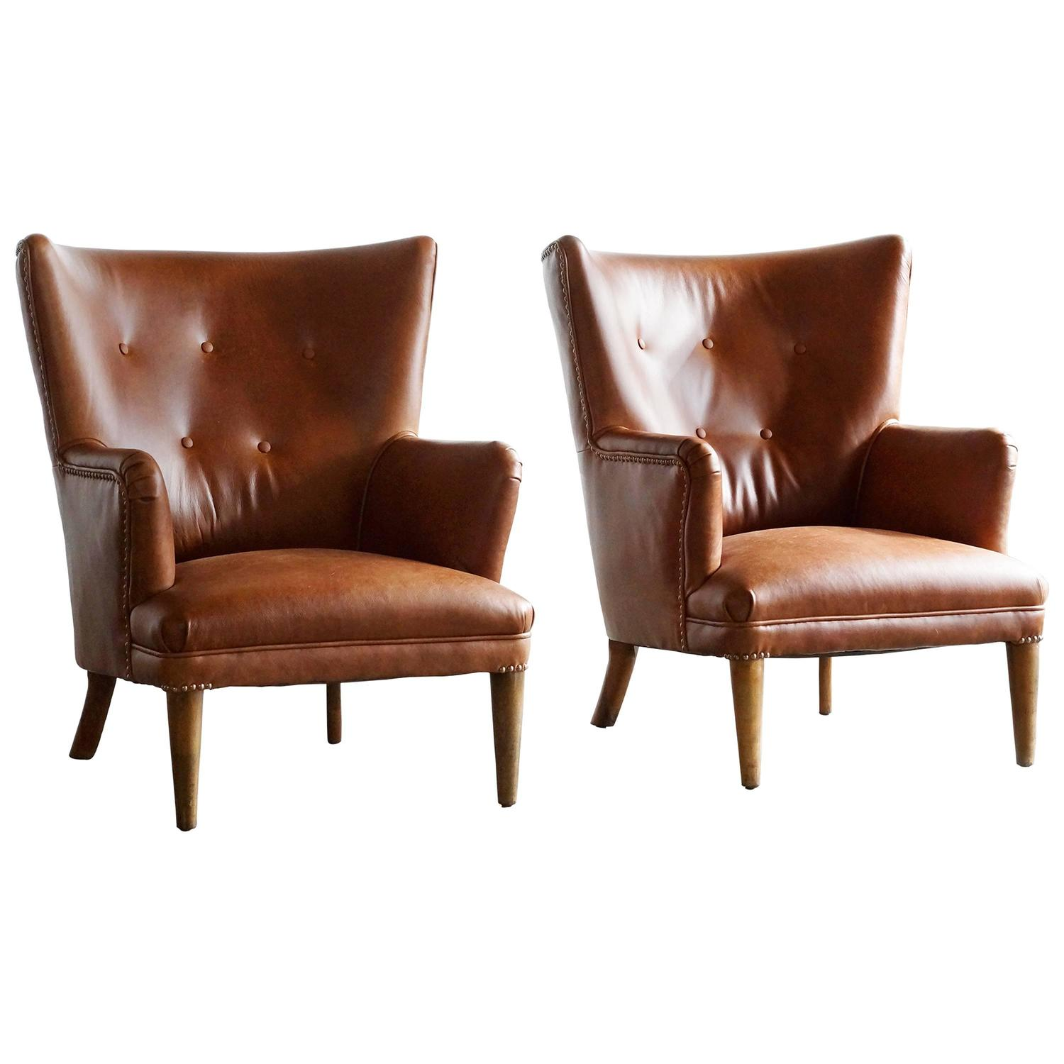 Pair Of 1940s Wingback Chairs At 1stdibs