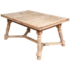 1900's Draw Leaf Continental Bleached Out Oak Dinning Table