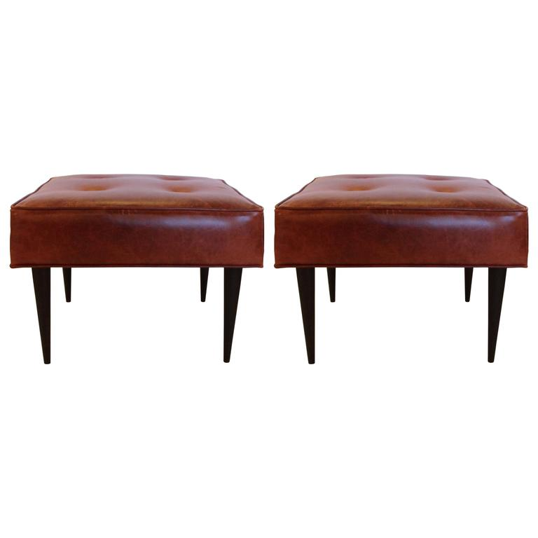 Leather Benches in the Manner of Paul McCobb