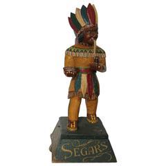 Original American Carved Cigar Store Indian Advertising Statue
