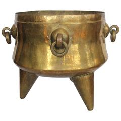 Giant Antique Decorative Brass Footed Cauldron With Handles