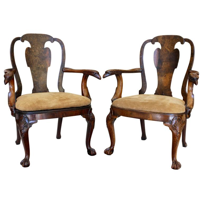 Pair of George III Burl Walnut Armchairs