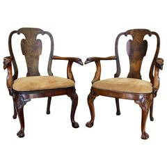 Pair of English George III 1730s Stamped Burl Walnut Armchairs with Eagle Heads
