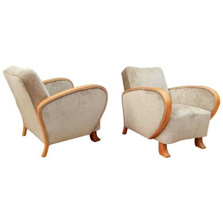 Pair of Swedish Art Deco Armchairs in Golden Elm, circa 1930 For Sale