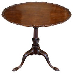 Mid-18th Century English George II Mahogany Tripod Table with Pie-Crust Tilt-Top