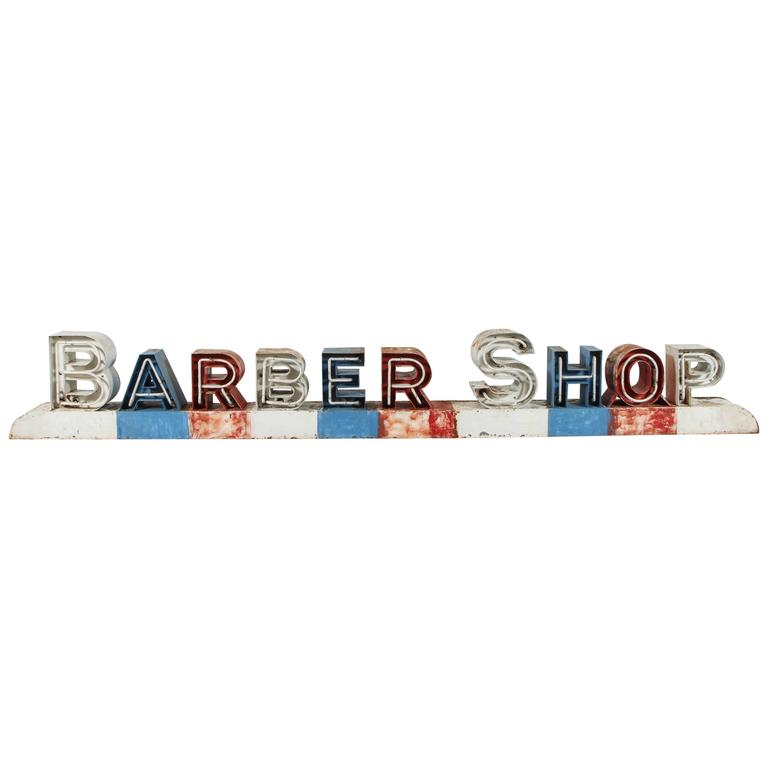 Very best Vintage Americana Mid-Century Neon Barber Shop Sign For Sale at  EX55