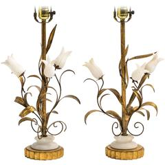 Pair of Italian Gilt Metal and Alabaster Floral Table Lamps