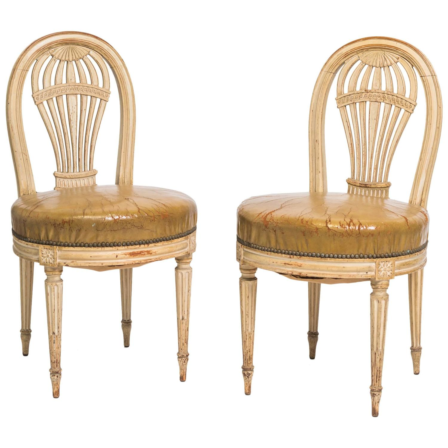 Etonnant Pair Of 1920s French Hot Air Balloon Side Chairs For Sale At 1stdibs