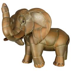Fancy Brass and Copper Elephant Sculpture by Sergio Bustamante, Mexico