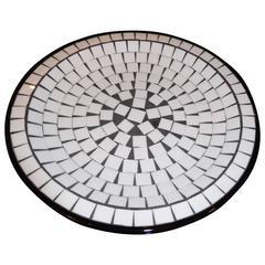 Danish Midcentury Black and White Tile Chip Platter