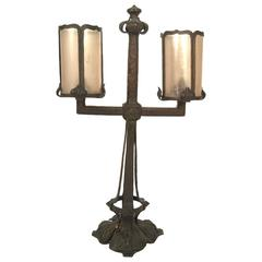 Arts and Crafts Period Wrought Iron and Mica Lamp