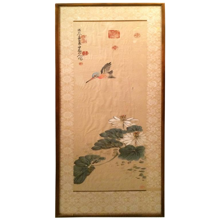 Chinese Scroll Painting of a Kingfisher and Lily Pads