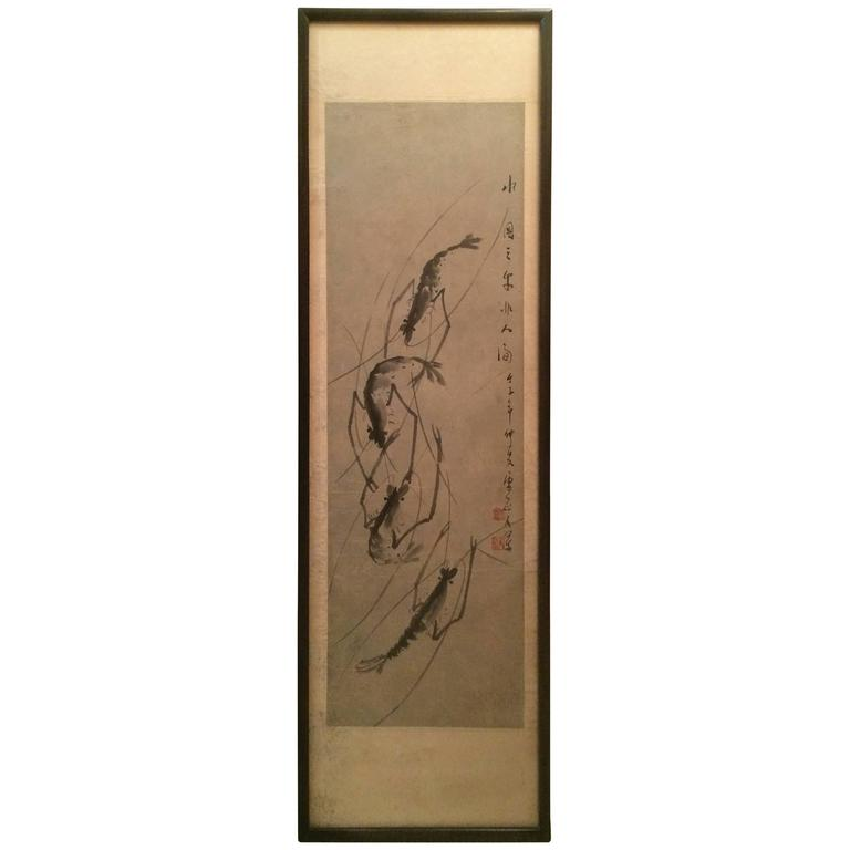 Chinese Scroll Painting of Prawns