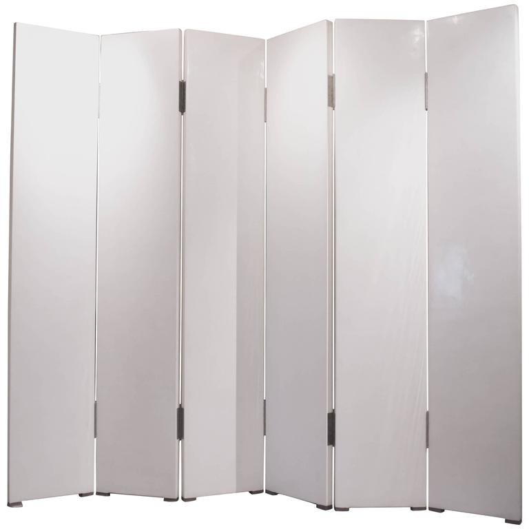Robert Kuo Cream Lacquer Six-Panel Screen For Sale