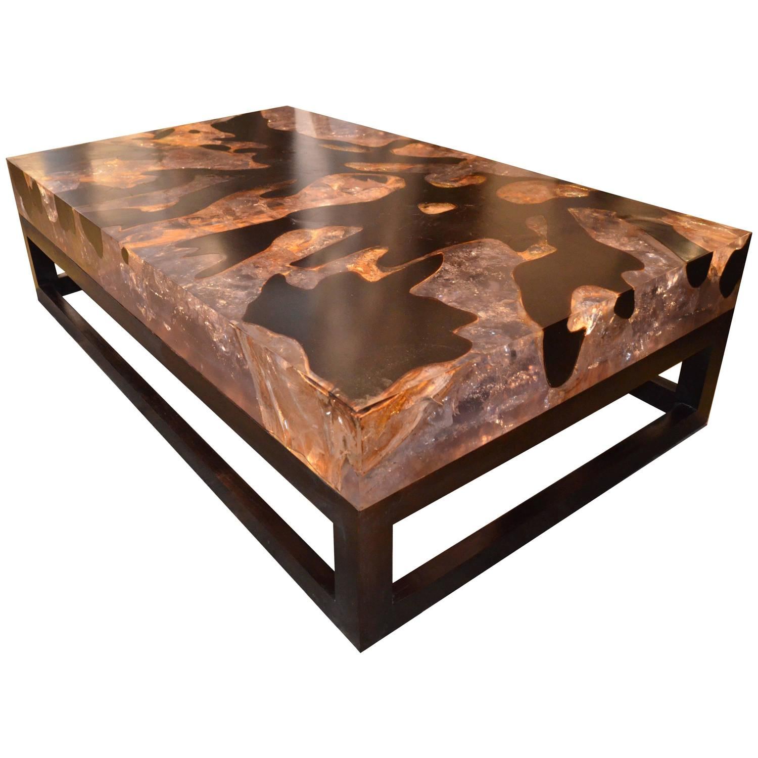 cracked resin coffee table with base for sale at 1stdibs. Black Bedroom Furniture Sets. Home Design Ideas