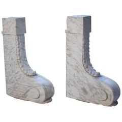 French Scroll Corbels in Carrara Marble
