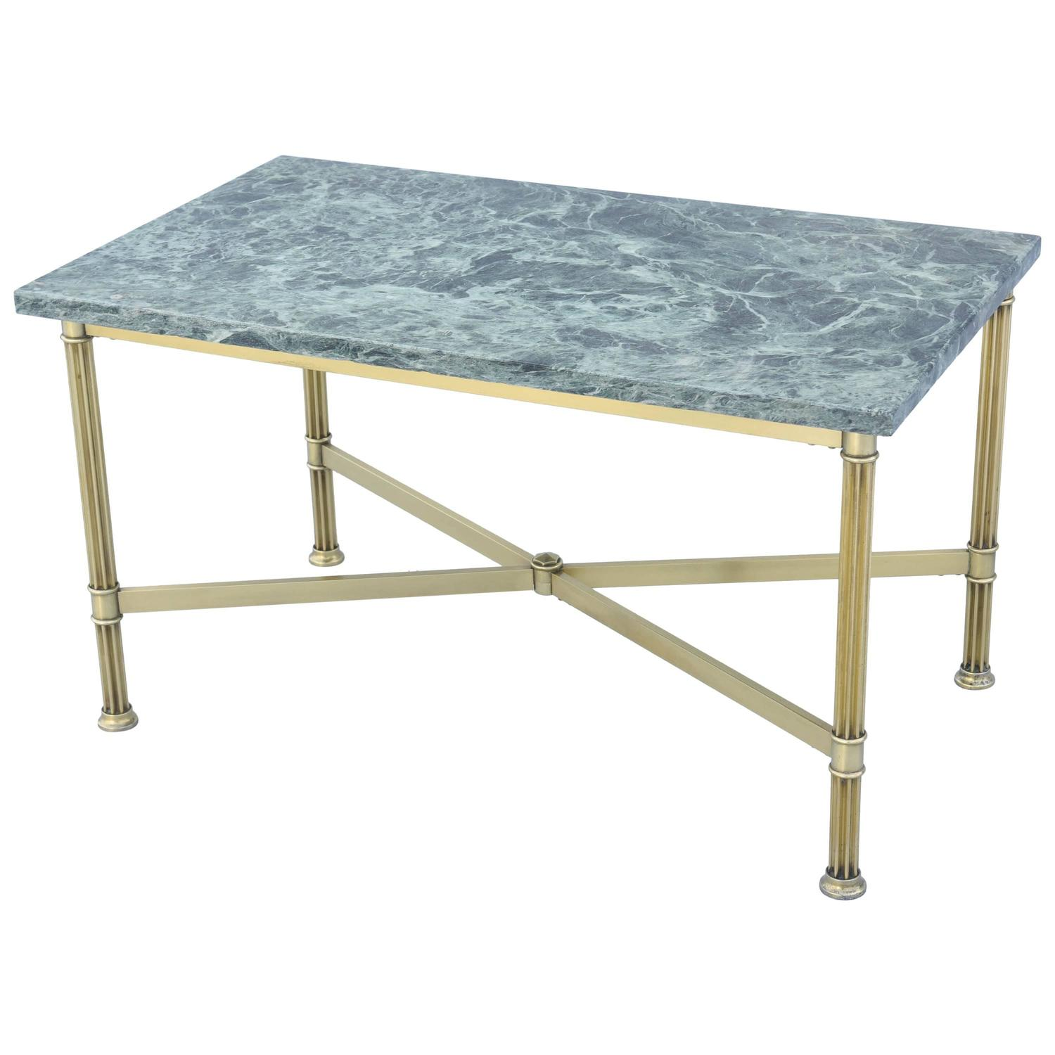Brass Cocktail Table With Marble Top In The Manner Of
