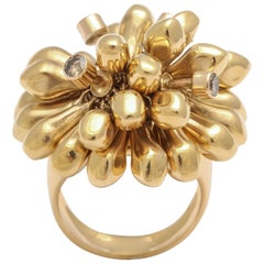 Diamond and 18-Karat Gold Articulated Floral Cluster Ring
