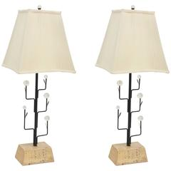 Pair of Italian Modern Iron, Crystal and Travertine Marble Lamps