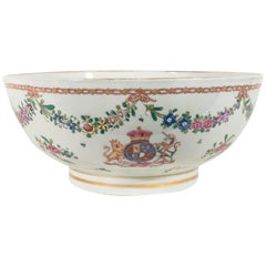 Large Antique Armorial Porcelain Punch Bowl Showing a Lion & Unicorn circa 1880