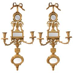 Pair of Bronze Dore Sconces with Unusual Mirrored Backplates by E.F. Caldwell