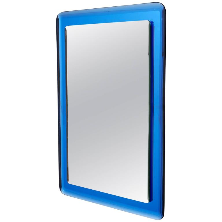 Blue Colored Beveled Glass Mirror, Italy, 1970s