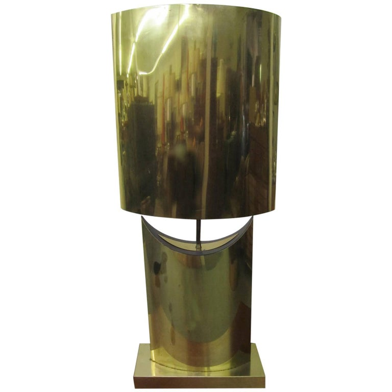 Lovely Large-Scale Sculptural Signed Curtis Jere Brass Lamp, Mid-Century Modern For Sale