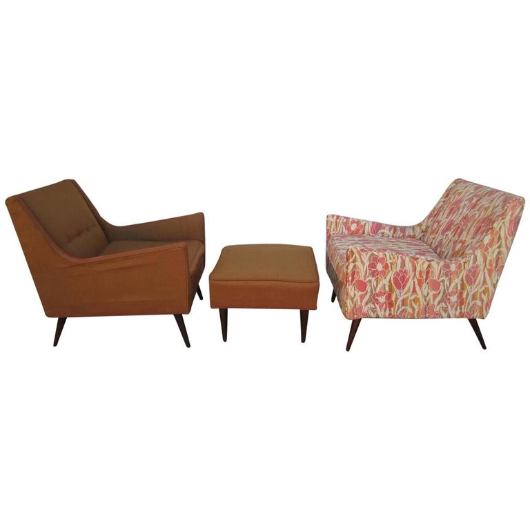 Lovely Pair of Milo Baughman Style Lounge Chairs and Ottoman